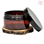 Amber plastic jar, black lid, 100 ml