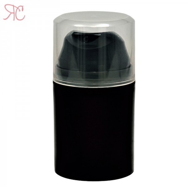 Black airless plastic bottle, 50 ml