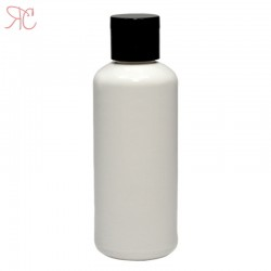 White plastic bottle with flip-top cap, 100 ml