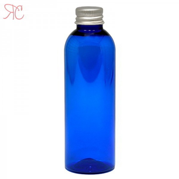 Blue plastic bottle with Aluminiumm cap, 100 ml