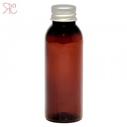 Amber plastic bottle with aluminium cap, 50 ml