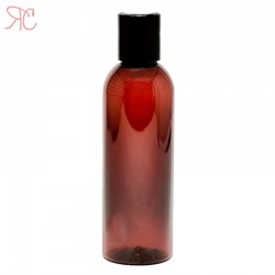 Amber plastic bottle with disc-top cap, 100 ml