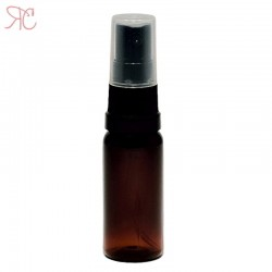 Amber plastic bottle with black spray pump, 20 ml