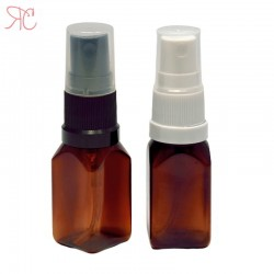 Amber square plastic bottle with spray pump, 15 ml