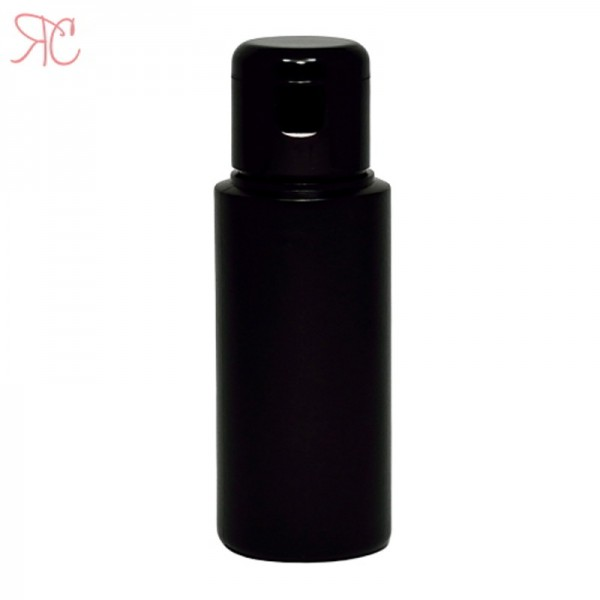 Black plastic bottle with flip-top cap, 100 ml