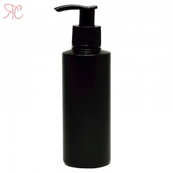 Black plastic bottle with dosing pump, 150 ml