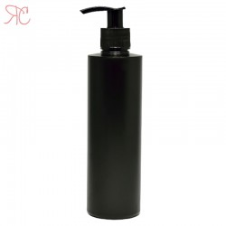 Black plastic bottle with dosing pump, 250 ml