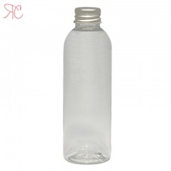 Transparent plastic bottle with Aluminiumm cap, 100 ml