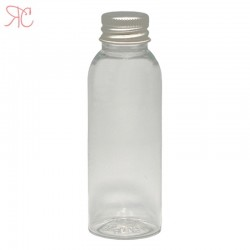 Transparent plastic bottle with Aluminiumm cap, 50 ml