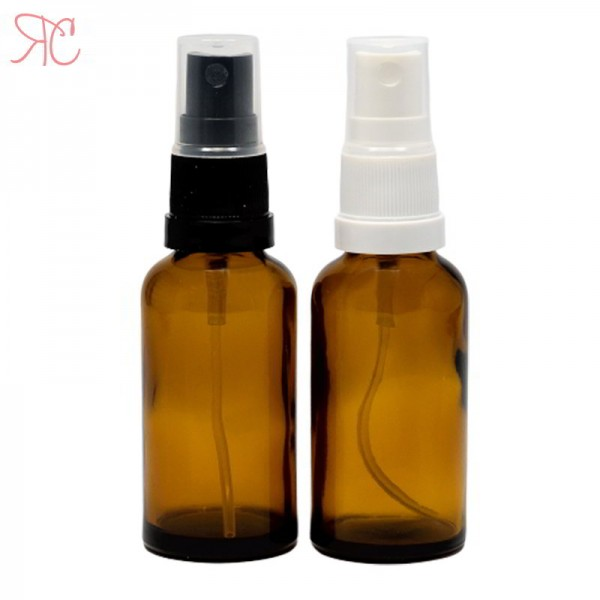 Amber glass bottle with spray pump, 30 ml