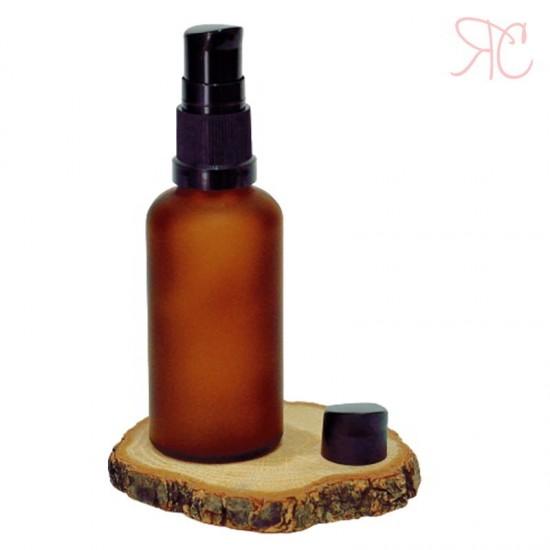 Sticla ambra frosted cu pompa (uleiuri), 50 ml