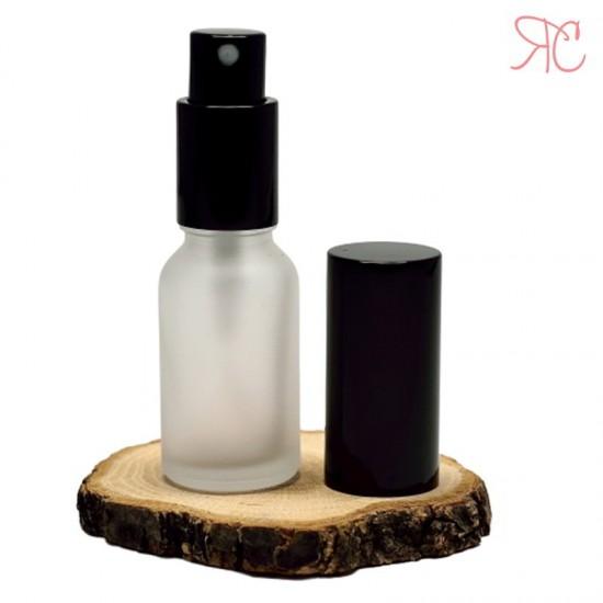 Sticla alba frosted cu pompa pulverizatoare Black, 15 ml