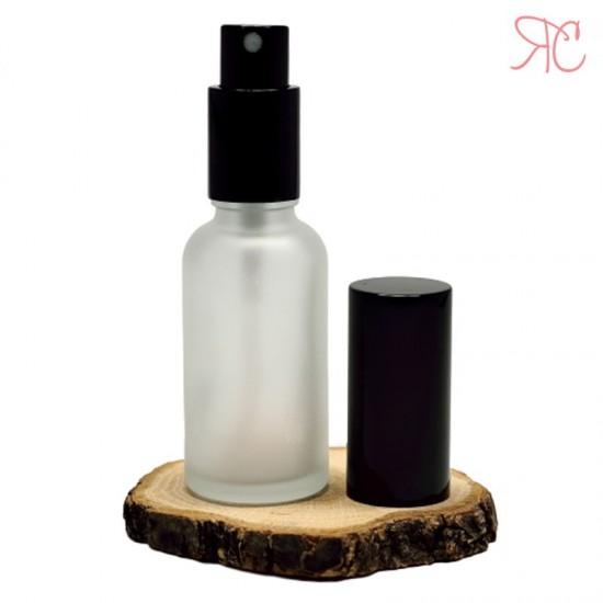 Sticla alba frosted cu pompa pulverizatoare Black, 30 ml