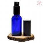 Blue glass perfume bottle with spray pump, 30 ml