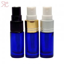 Blue glass perfume bottle with fine mist pump, 5 ml