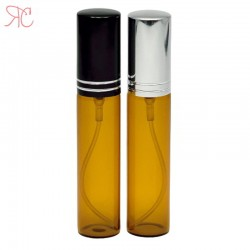 Amber glass perfume bottle with black pump, 10 ml