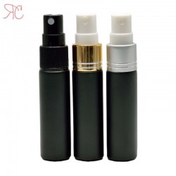 Black glass perfume bottle with fine mist pump, 10 ml