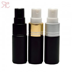 Black glass perfume bottle with fine mist pump, 5 ml
