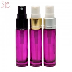 Pink glass perfume bottle with fine mist pump, 10 ml