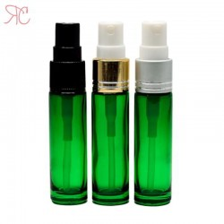 Green glass perfume bottle with fine mist pump, 10 ml