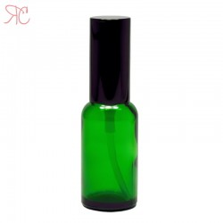 Green glass perfume bottle with spray pump, 30 ml