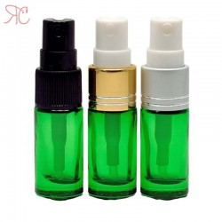 Green glass perfume bottle with fine mist pump, 5 ml