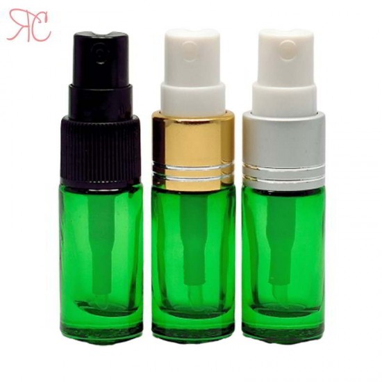 Recipient din sticla verde cu pompa pulverizatoare, 5 ml