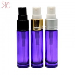 Purple glass perfume bottle with fine mist pump, 10 ml