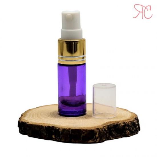 Recipient din sticla violet cu pompa pulverizatoare, 5 ml