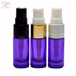 Purple glass perfume bottle with fine mist pump, 5 ml