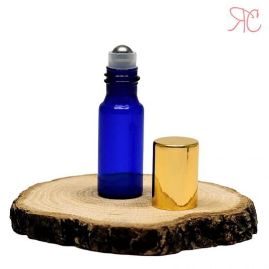Recipient roll-on albastru, sticla subtire, 5 ml