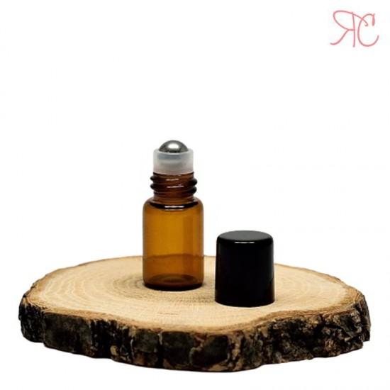 Recipient roll-on ambra, sticla subtire, 2 ml
