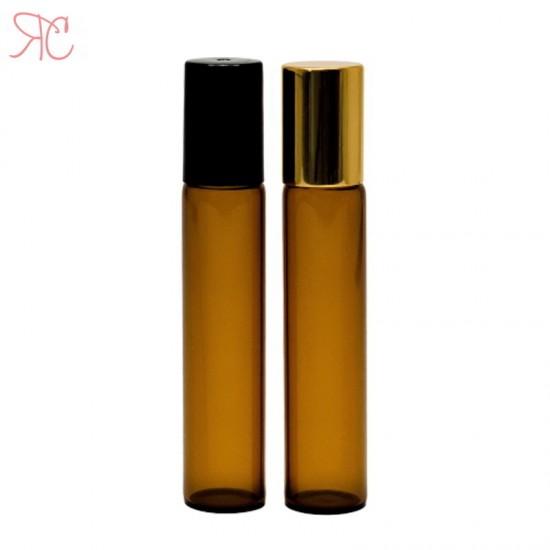 Recipient roll-on ambra, sticla subtire, 9 ml