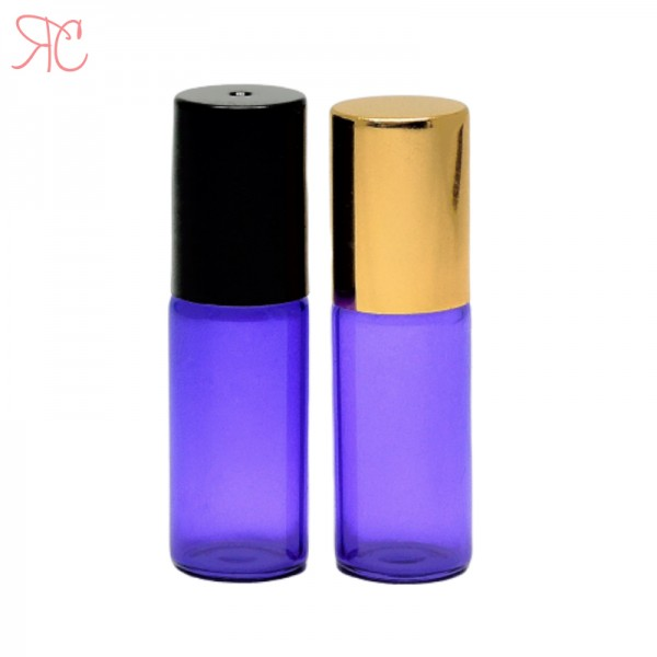 Recipient roll-on violet, sticla subtire, 5 ml