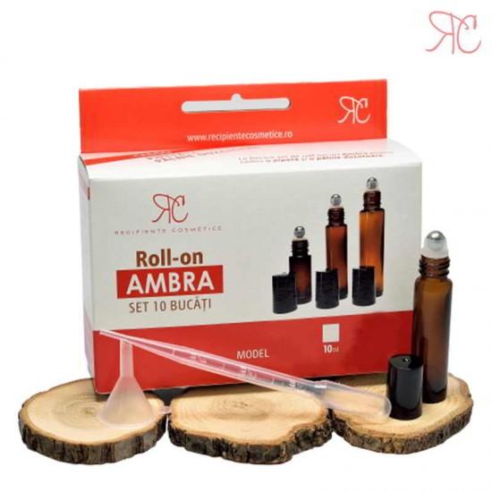 Set recipient roll-on ambra, 10 ml (10 bucati)