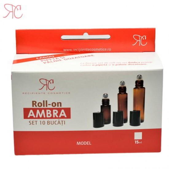 Set recipient roll-on ambra, 15 ml (10 bucati)
