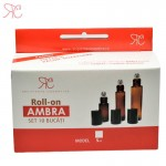 Amber glass roll-on bottle, 5 ml, 10 pcs Set