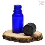 Blue glass bottle with childproof cap, 10 ml