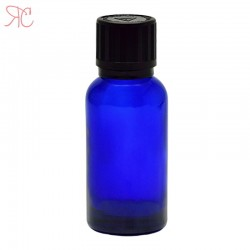 Blue glass bottle with childproof cap, 30 ml