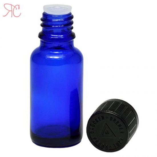 Sticla albastra cu picurator, capac childproof, 20 ml