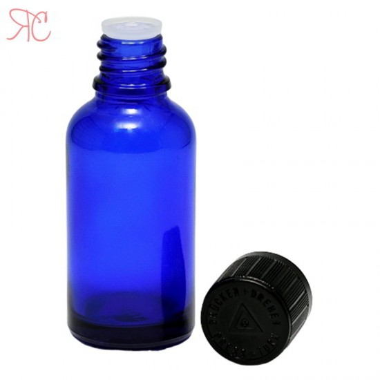 Sticla albastra cu picurator, capac childproof, 30 ml