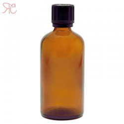Amber glass bottle with childproof cap, 100 ml