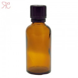 Amber glass bottle with childproof cap, 50 ml