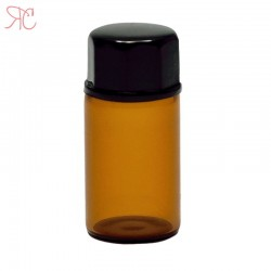Amber glass bottle with dropper and safety lid, 3 ml