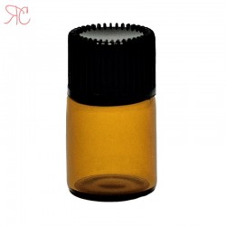Amber glass bottle with dropper, 2 ml