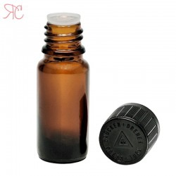 Amber glass bottle with childproof cap, 10 ml