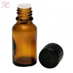 Amber glass bottle with dropper and childproof cap, 15 ml