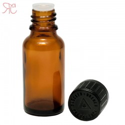 Amber glass bottle with childproof cap, 20 ml