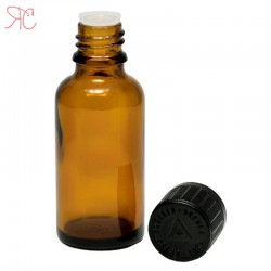 Amber glass bottle with childproof cap, 30 ml