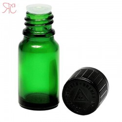 Green glass bottle with childproof cap, 10 ml